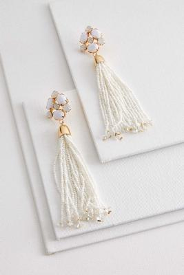 flower bead tassel earrings