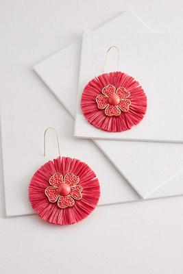 raffia and flower statement earrings