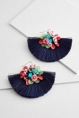 sequin floral fringe earrings