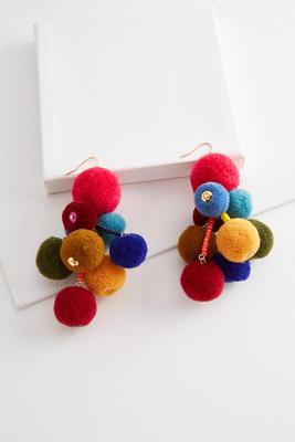 colorful cluster pom-pom earrings