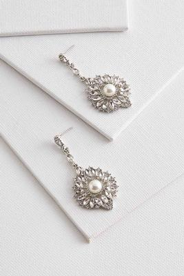 pearl embellished chandelier earrings