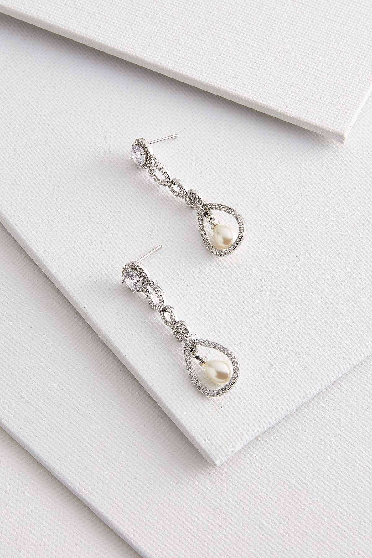 Cubic Zirconia And Pearl Earrings