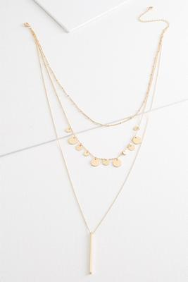 layered disc and bar necklace