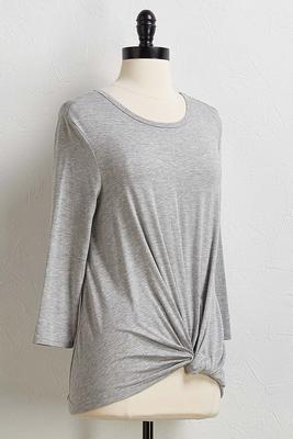 gray knotted hem tee