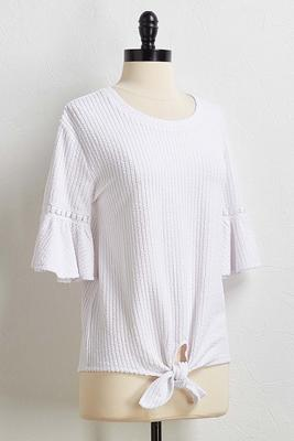 textured tie front top