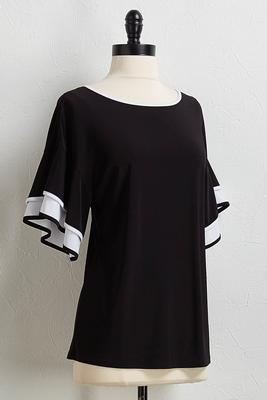 black and white flutter sleeve top