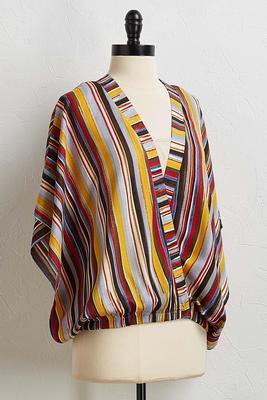 multi stripe kimono top