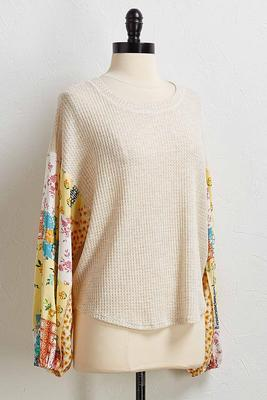 waffle patchwork sleeve top