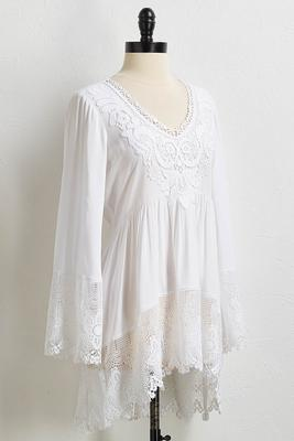 white crochet trim tunic
