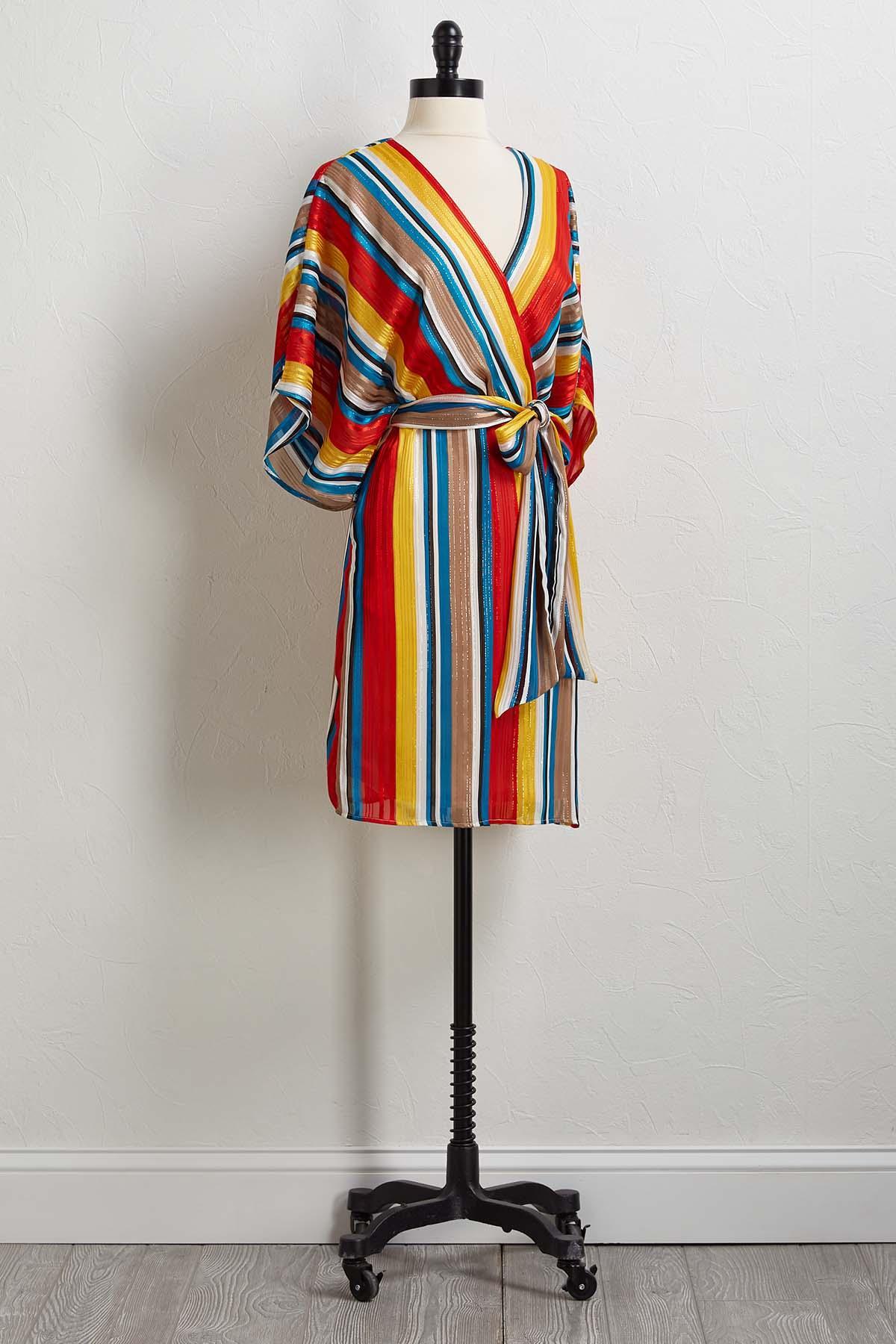Rainbow Stripe Kimono Dress