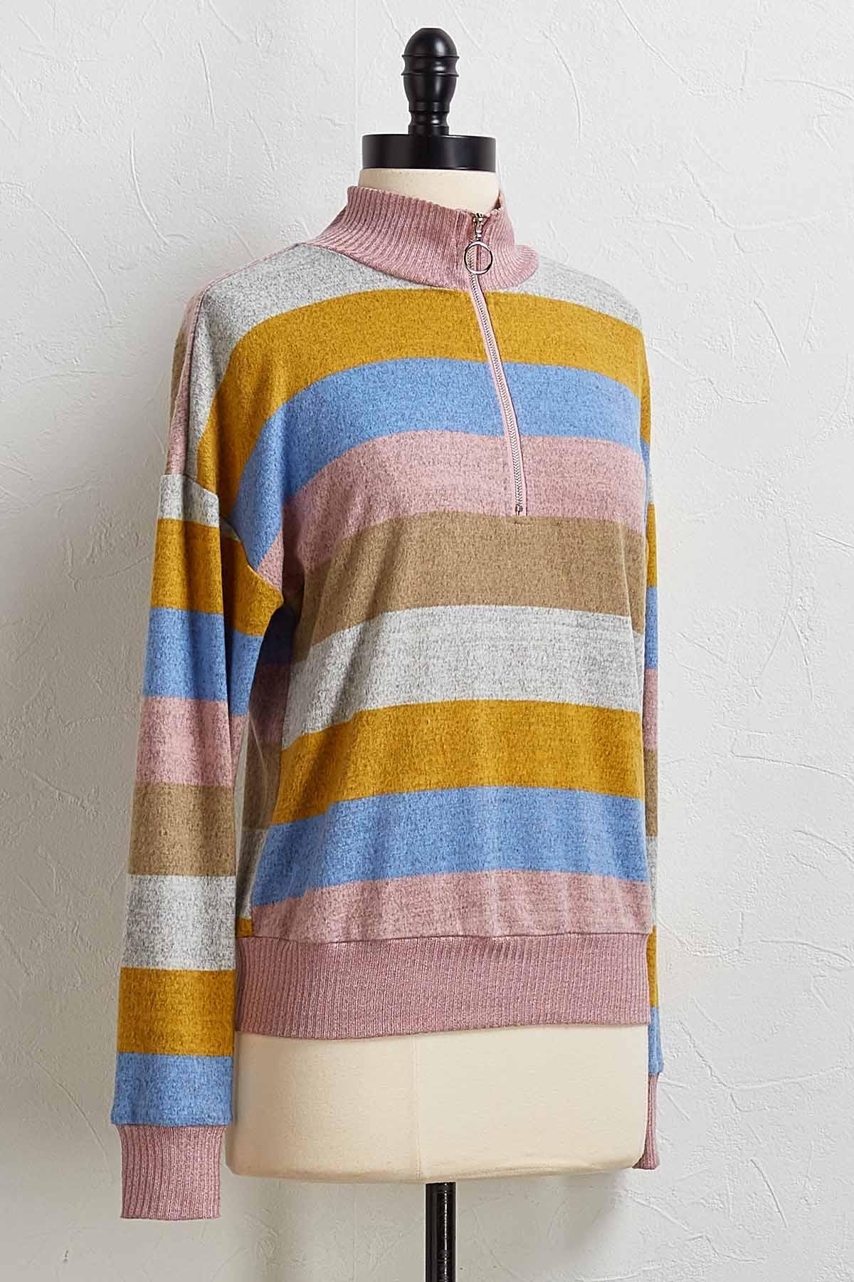 Multi Stripe Pullover Top