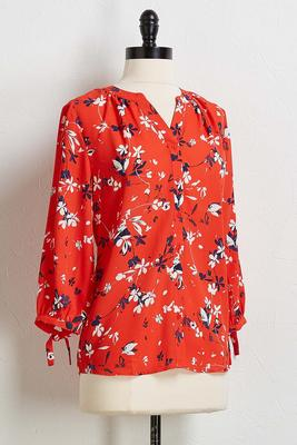 red floral button down shirt