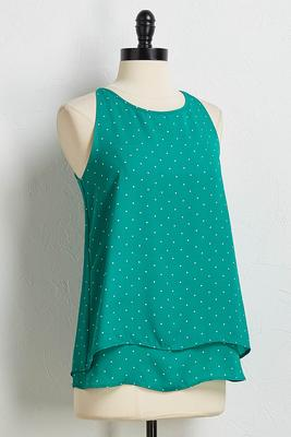 green polka dot layered tank