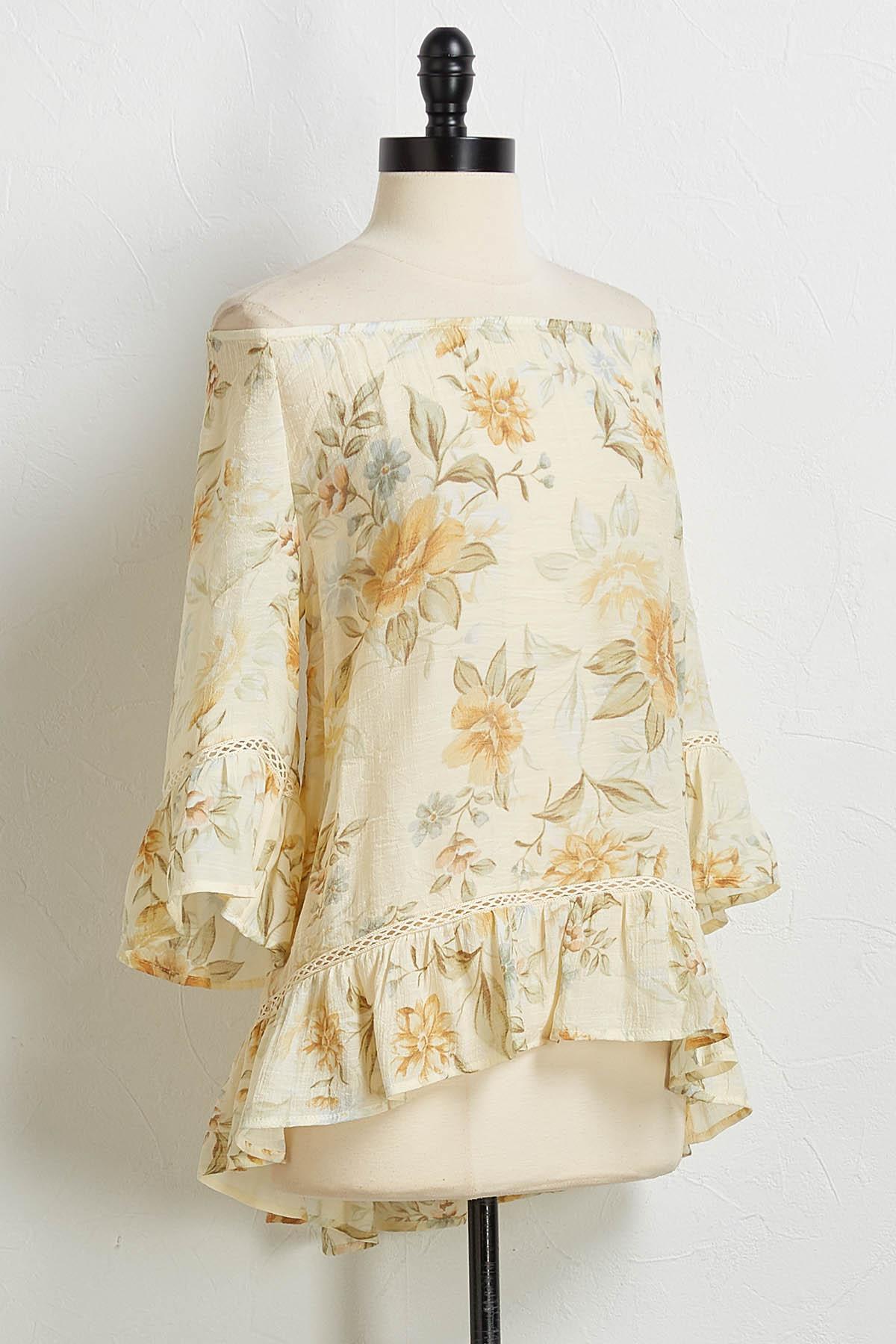 Ivory Floral Off The Shoulder Top