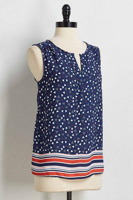 navy stripe border tank