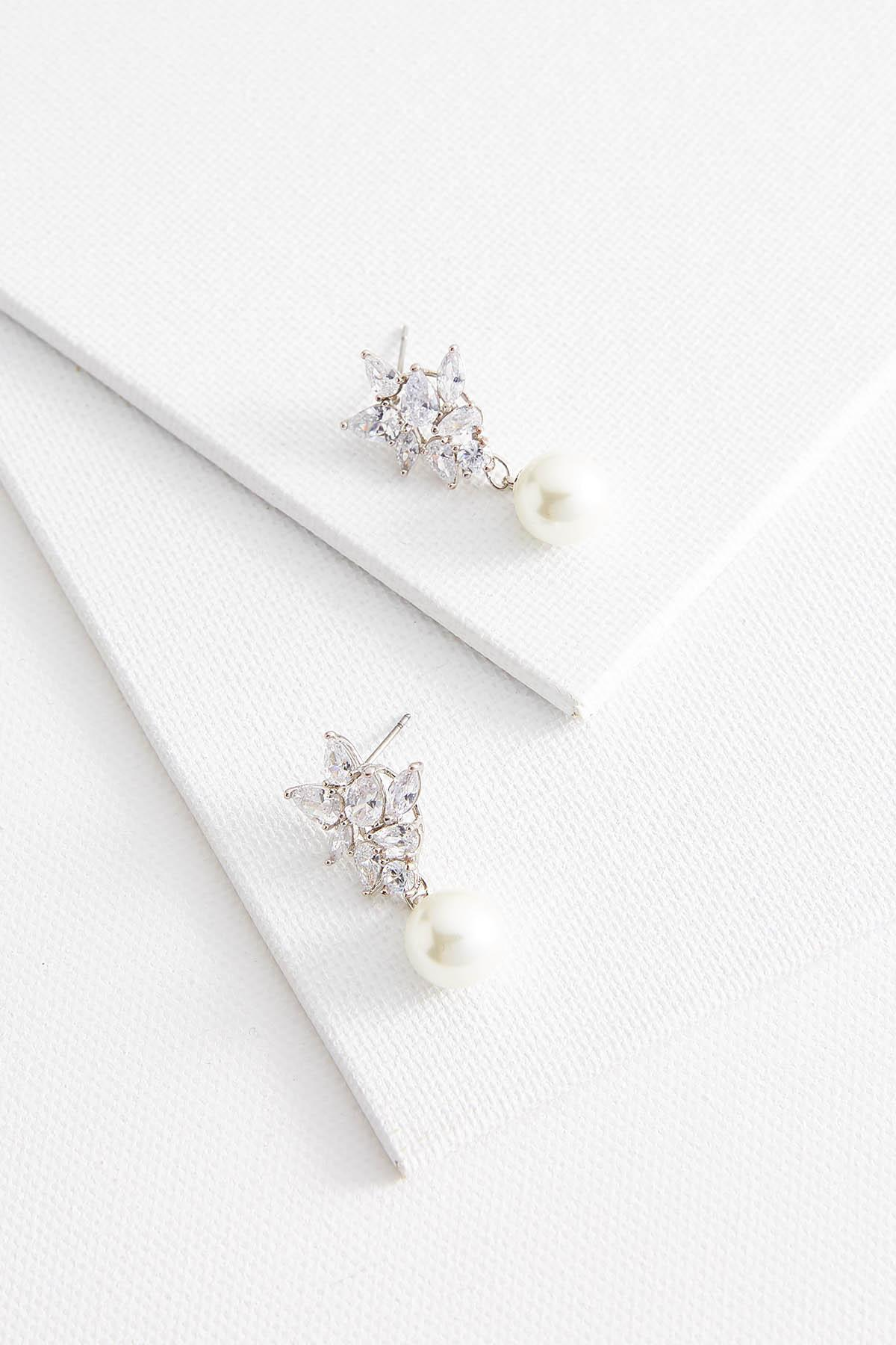 Cluster Stone And Pearl Earrings
