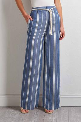 stripe linen palazzo pants