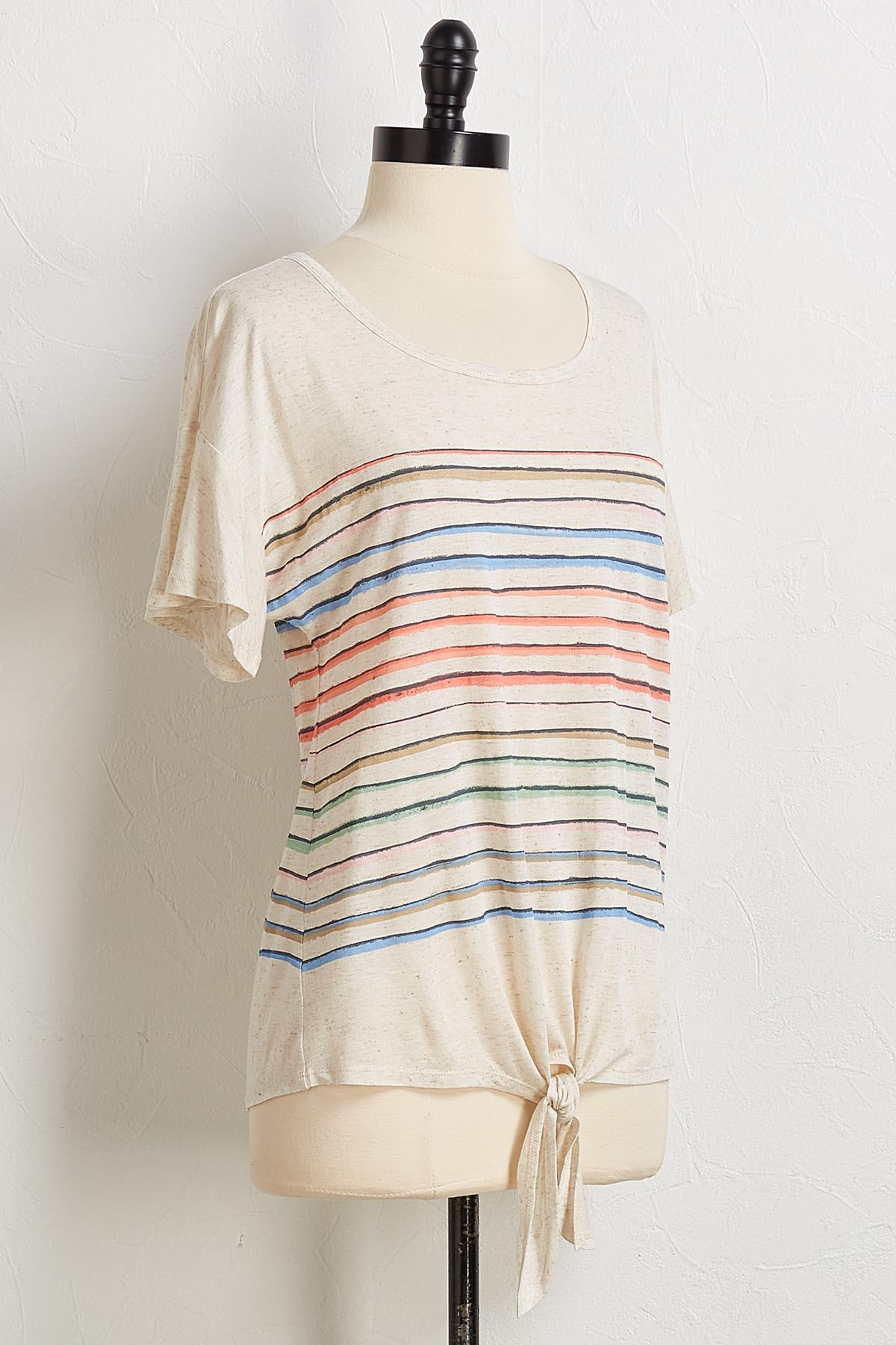 Knotted Natural Stripe Top