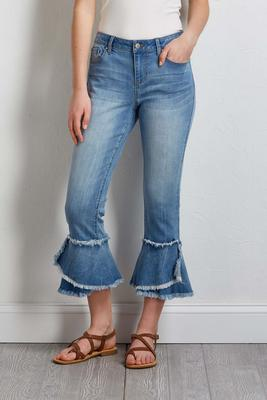 frayed ruffled jeans