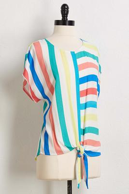 spring stripe tie front top