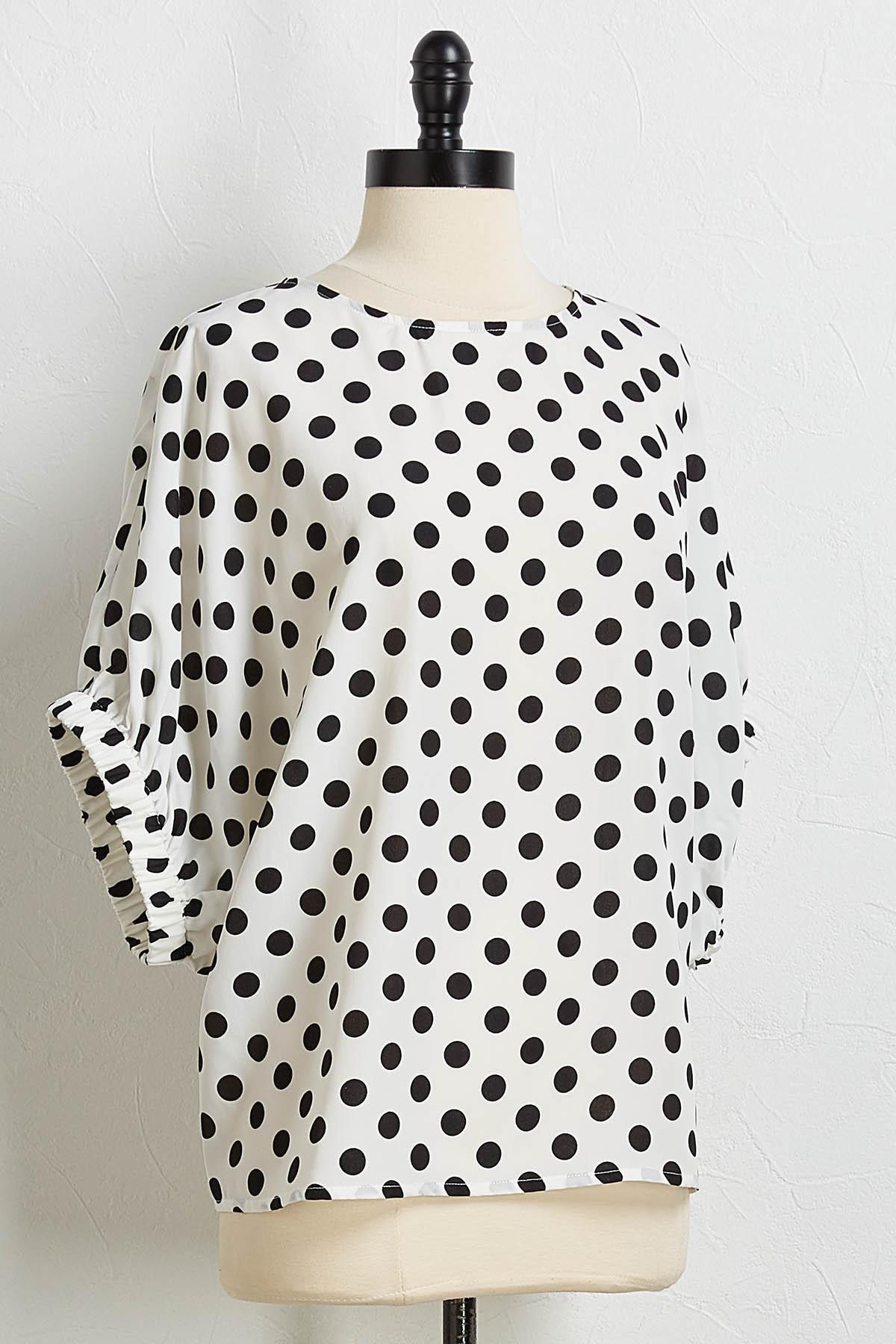 Polka Dot Dolman Sleeve Top