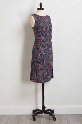 side twist paisley knit dress