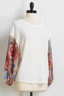 paisley medallion balloon sleeve top