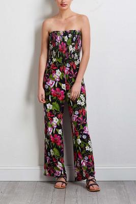 strapless floral jumpsuit