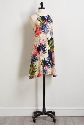 bright palm leaf slip dress