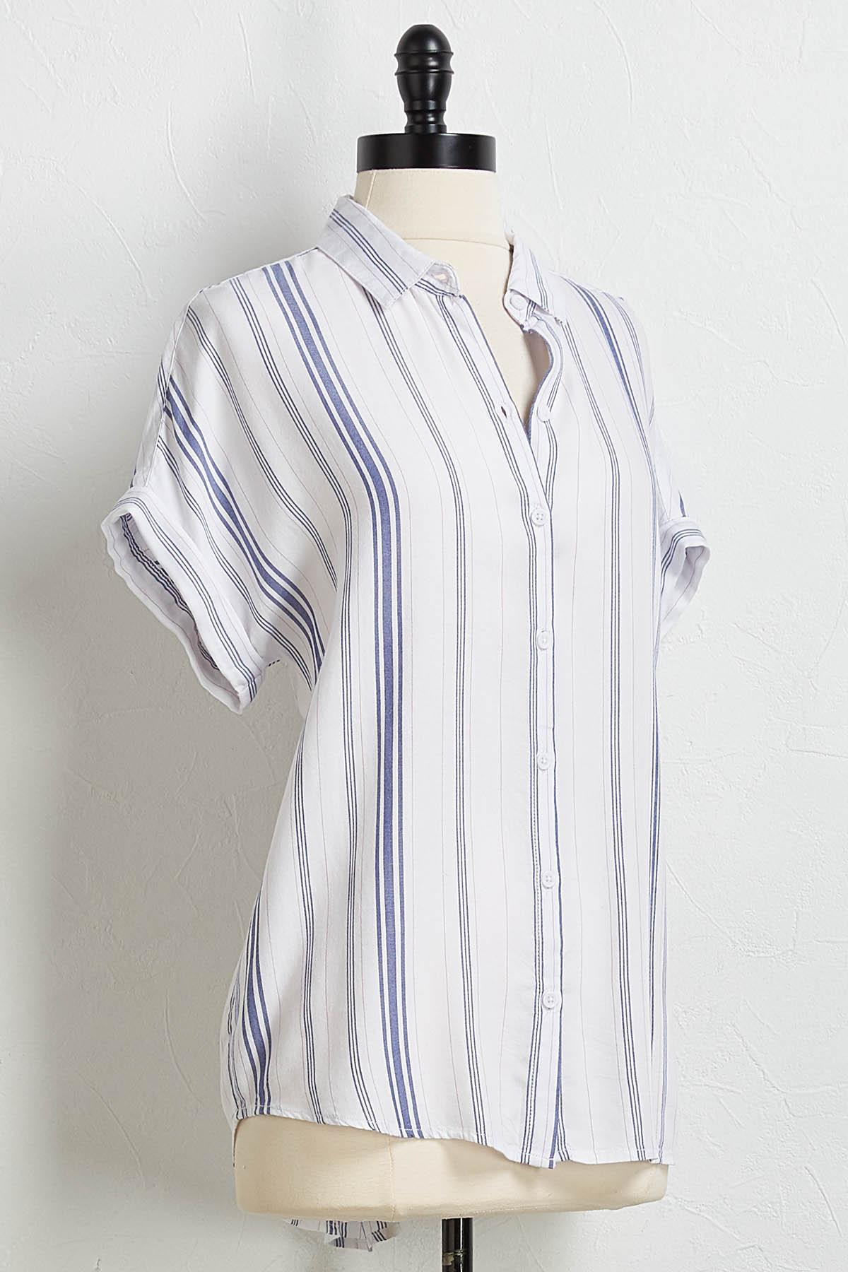 Denim Stripe Button Down Shirt