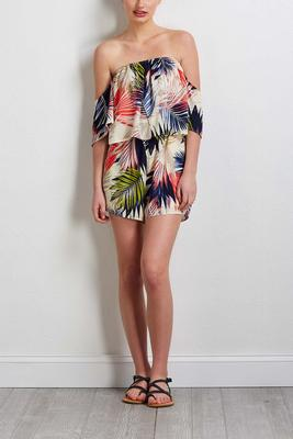 tropical bare shoulder romper