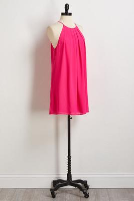 pink pebble crepe shift dress