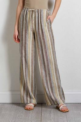 natural stripe linen pants