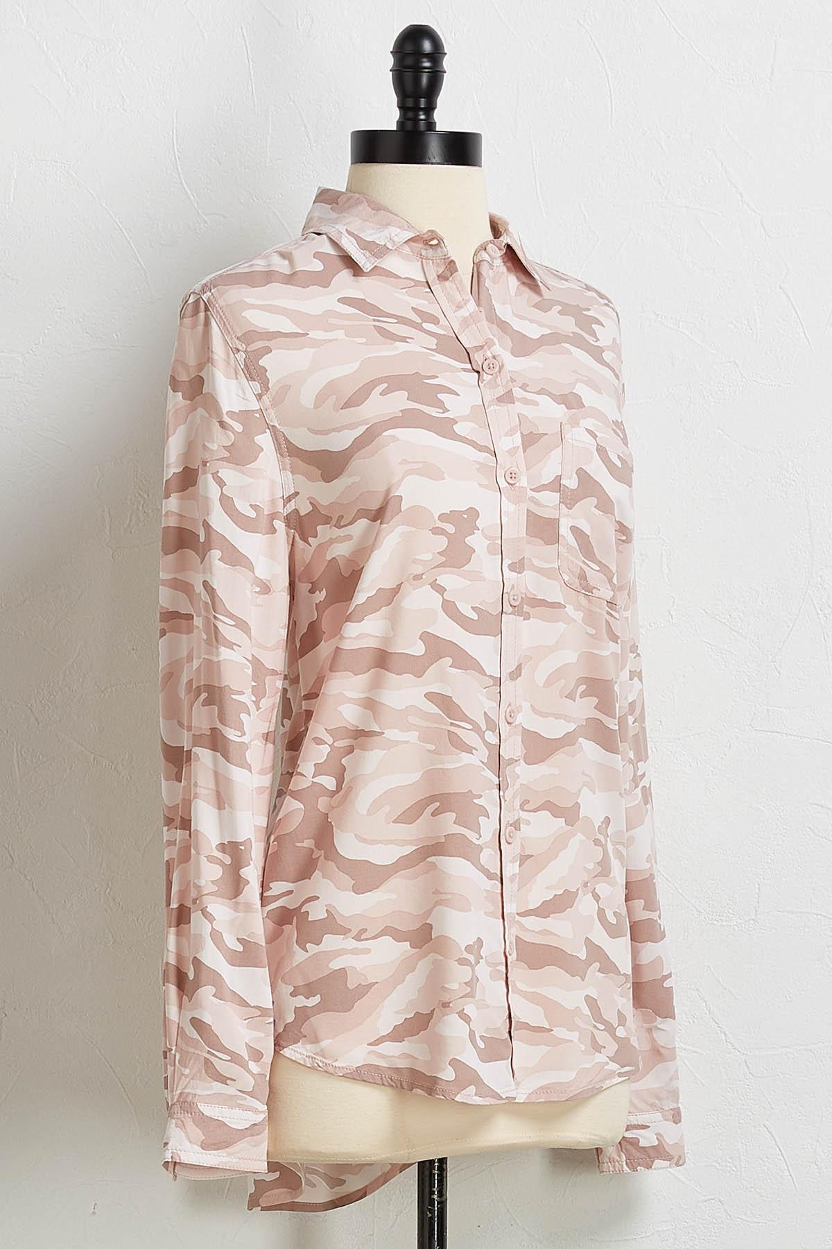 Blush Camo Button Down Shirt
