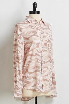 blush camo button down shirt