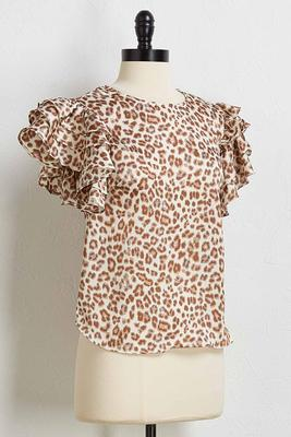 leopard ruffled sleeve top
