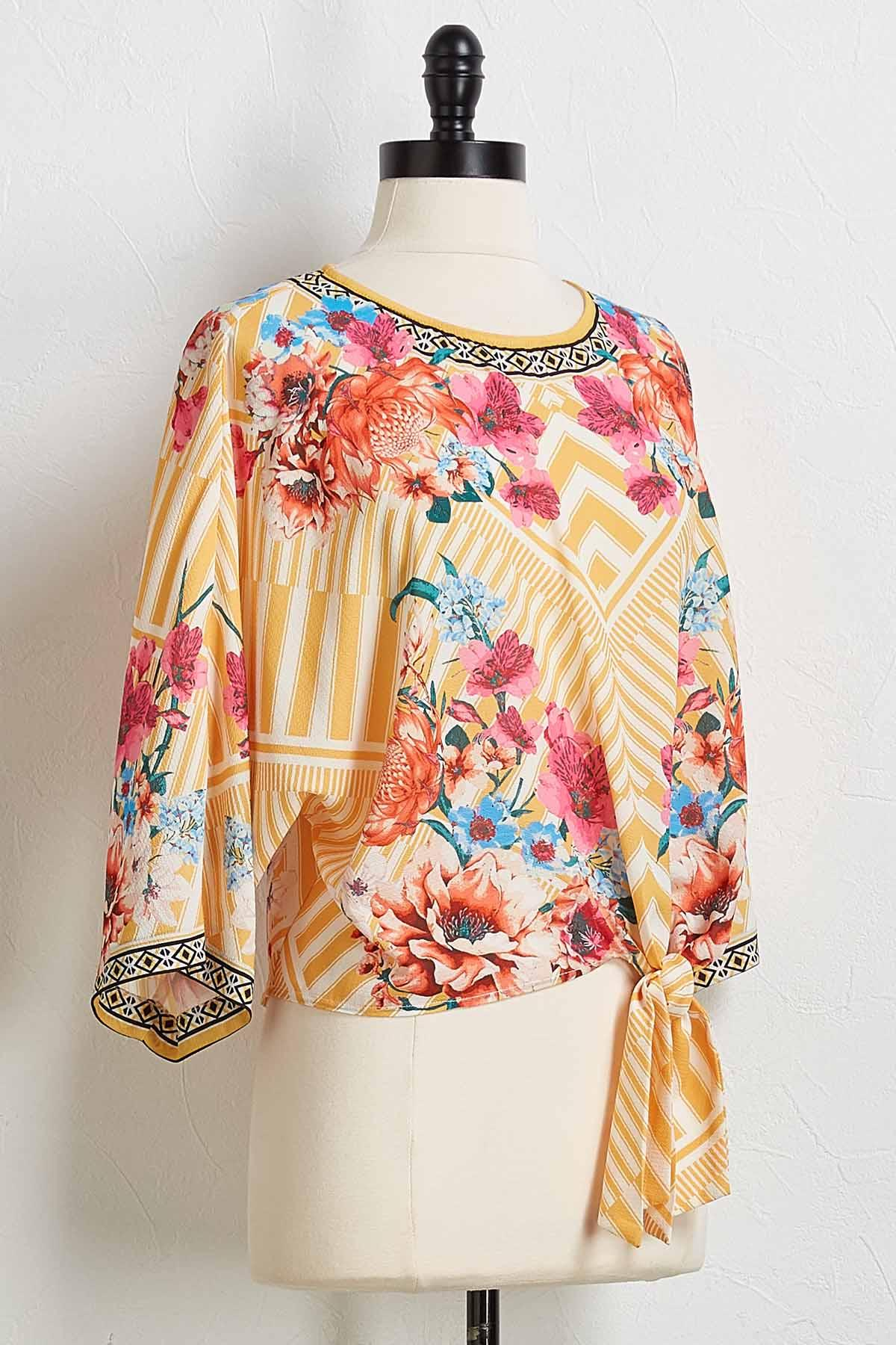 Graphic Floral Tie Front Top