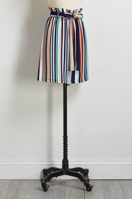 stripe paperbag mini skirt