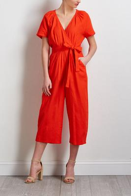 cropped orange linen jumpsuit