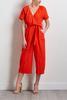 Cropped Orange Linen Jumpsuit