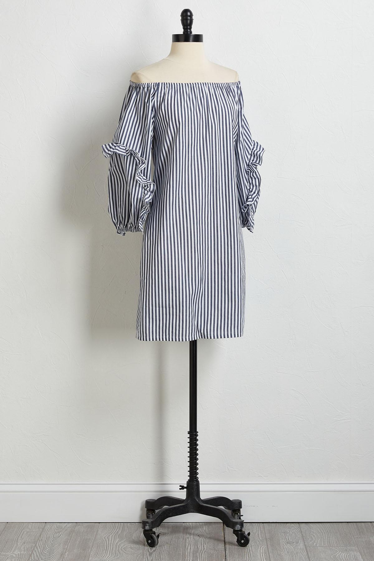 Stripe Ruffled Sleeve Dress