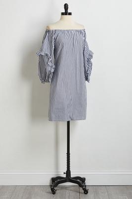stripe ruffled sleeve dress