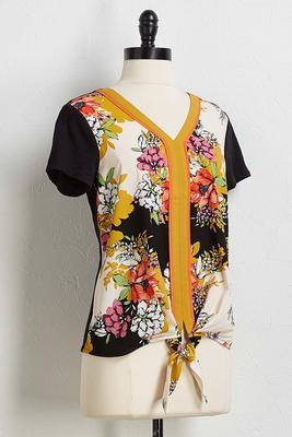floral tie front top