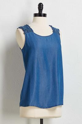 ruffled chambray tank