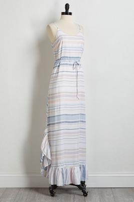 ruffled stripe maxi dress
