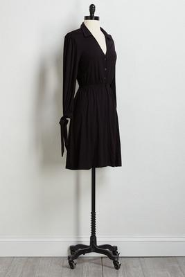 solid tie sleeve dress