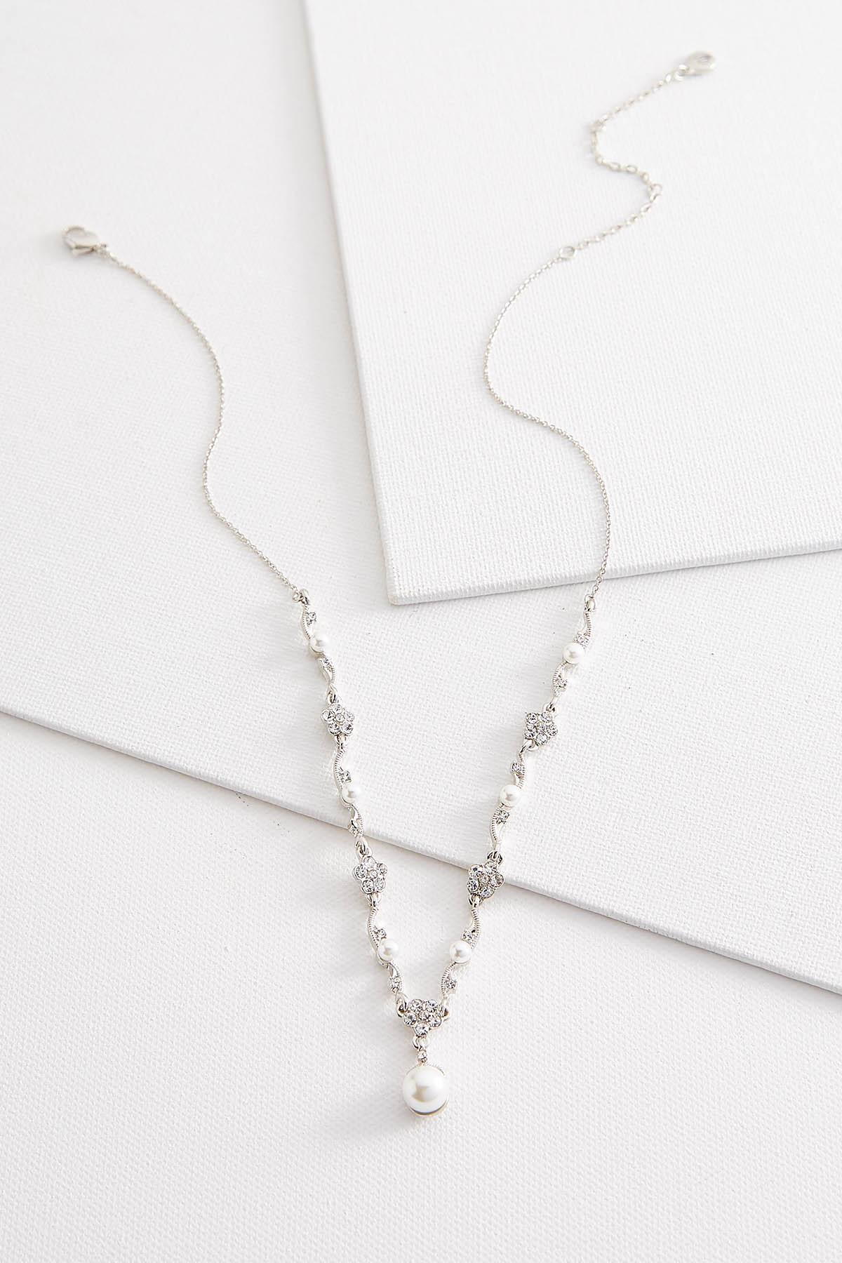 Flower And Pearl Y- Necklace