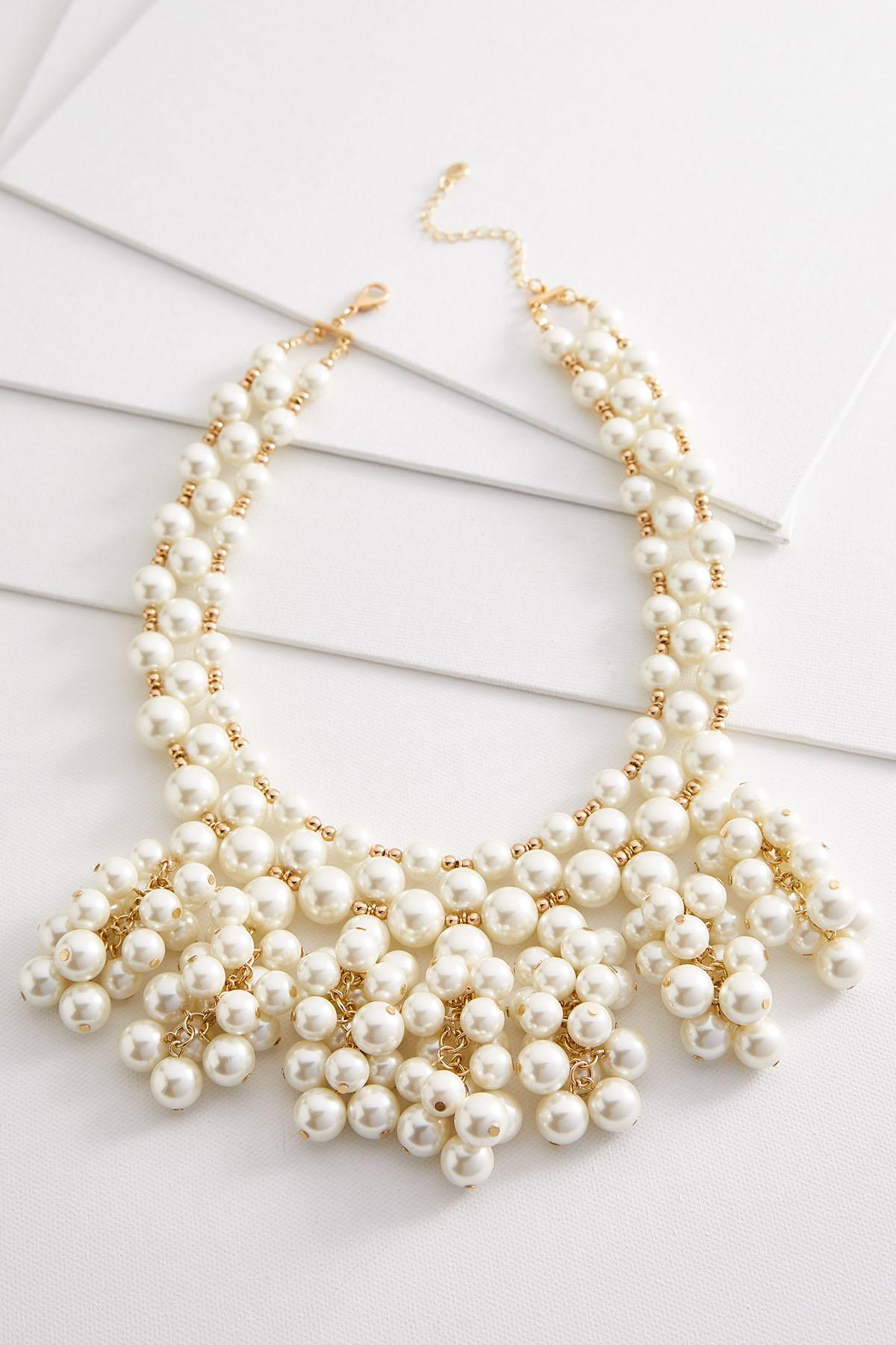 Cluster Pearl Bib Necklace