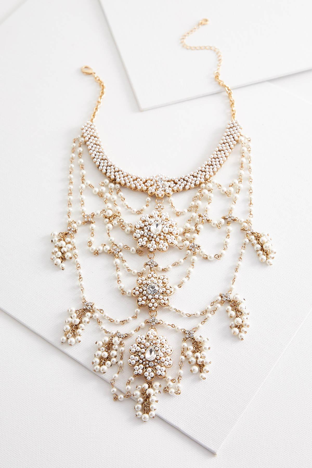 Draped Pearl Bib Necklace