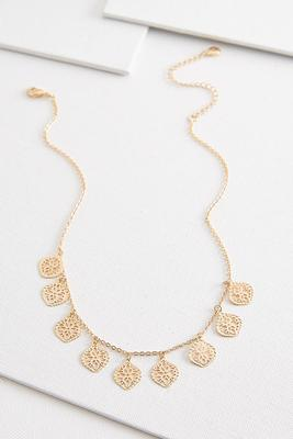 dangling filigree medallion necklace